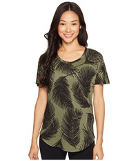 Lucy Final Rep Printed Short Sleeve Rich Olive Palm Print Women's Clothing Green