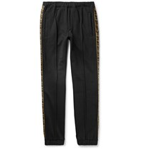 Fendi Tapered Logo Trimmed Wool Cotton Silk And Cashmere Blend Jersey Sweatpants Black