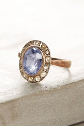 Anthropologie One Of A Kind Vintage Sapphire Diamond Cluster Ring Gold