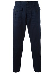 Dsquared2 Cropped Cargo Trousers Blue