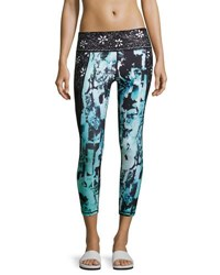Nanette Lepore Play Spliced Floral Print Slide Capri Leggings Black Pattern