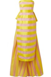 Lela Rose Bow Embellished Striped Organza And Satin Midi Dress Bright Yellow