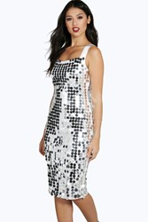 Boohoo Large Sequin Strappy Midi Dress Silver