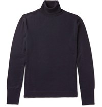 Officine Generale Nina Slim Fit Merino Wool Rollneck Sweater Midnight Blue