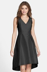 Women's Alfred Sung Satin High Low Fit And Flare Dress Black
