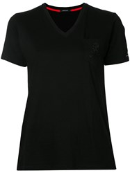 Loveless V Neck Pocket T Shirt Women Cotton Rayon 36 Black