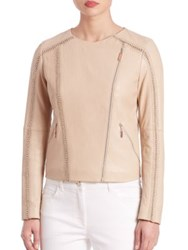 Escada Crochet Stitch Leather Jacket Open Beige
