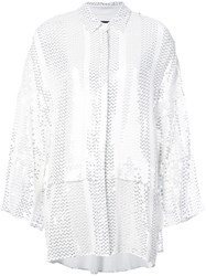 Sally Lapointe Stitched Sequins Shirt White