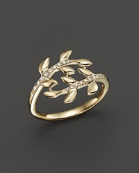 Bloomingdale's Diamond Leaf Ring In 14K Yellow Gold .09 Ct. T.W.