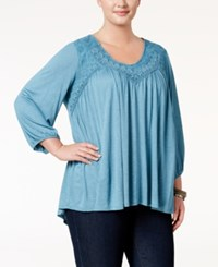 Eyeshadow Trendy Plus Size Embroidered Top Rain Dance