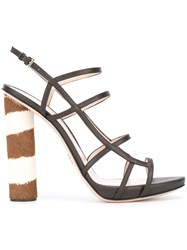 Ermanno Scervino Zebra Print Heel Sandals Brown