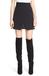 Alice Olivia Women's 'Ericka' Leather Inset Faux Wrap Skirt Black
