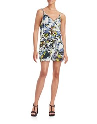 French Connection Surplice Floral Romper White Multi