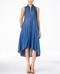 Inc International Concepts Sleeveless High Low Trapeze Denim Dress Only At Macy's Indigo
