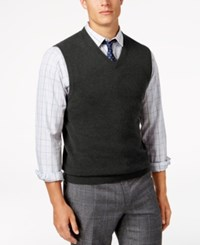 Club Room Men's V Neck Cashmere Sweater Vest Created For Macy's Dark Charcoal Heather