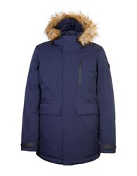 Orobos Fur Trim Long Sleeve Hooded Parka Jacket Navy
