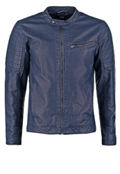 Jack And Jones Jack And Jones Jjcoredbud Regular Fit Faux Leather Jacket Navy Blazer Dark Blue