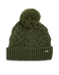 Rella Cable Knit Pom Pom Fleece Lined Beanie Military Green