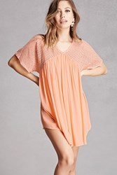 Forever 21 Velzera Netted Lace Tunic Peach