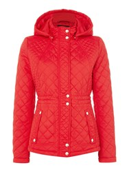 Weatherproof Hooded Quilted Jacket With Inner Drawcord Red
