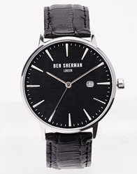 Ben Sherman Black Leather Strap Watch Wb001b