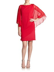Rickie Freeman For Teri Jon Embellished Chiffon Drape Sleeve Dress Red