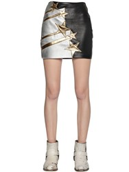 Faith Connexion Star Patch Smooth Leather Mini Skirt