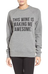 Brunette Women's The Label 'This Wine' Crewneck Sweatshirt Grey