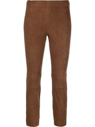 Vince Cropped Skinny Trousers Brown