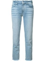 7 For All Mankind Frayed Trim Jeans Blue