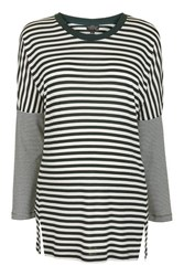 Topshop Maternity Long Sleeve Slouch Stripe T Shirt Green