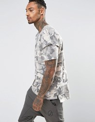 Criminal Damage T Shirt With Layered Sleeves In Camo Print Green