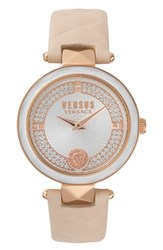 Versus By Versace Covent Garden Leather Strap Watch Beige White Rose Gold