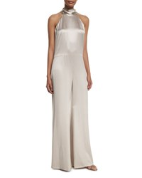 Galvan Slouchy Silk Mock Neck Jumpsuit Platinum