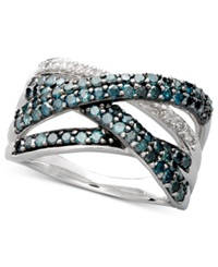 Macy's Sterling Silver Ring Blue Diamond 1 Ct. T.W. And White Diamond Accent Crossover Ring