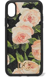 Dolce And Gabbana Floral Print Textured Leather Iphone X Case Pink