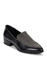 424 Fifth Verona2 Leather And Suede Loafers Black Lava
