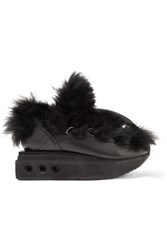 Y 3 Adidas Originals Ruyk Hike Faux Fur And Leather Wedge Sneakers Black