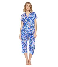 Lauren Ralph Lauren Short Sleeve Notch Collar Capri Pj Royal Blue Paisley Women's Pajama Sets Navy