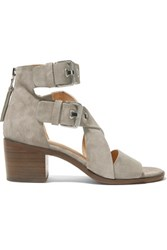 Rag And Bone Madrid Buckled Suede Sandals Gray