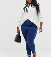 Asos Design Curve Ridley High Waist Skinny Jeans In Rich Mid Blue Wash