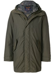 Woolrich Camouflage Layer Hood Coat Feather Down Polyamide Polyester M Green
