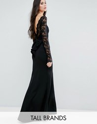 City Goddess Tall Fishtail Maxi Dress With Lace Sleeves And Bow Back Black