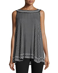 Max Studio Diamond Print Jersey Knit Tank Black Ivory