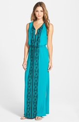 Adrianna Papell Embroidered Split Neck Jersey Maxi Dress Turquoise