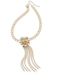 Thalia Sodi Gold Tone Wide Link Large Flower Tassel Collar Necklace Only At Macy's