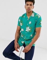 New Look Viscose Revere Collar Shirt In Teal Floral Print Green