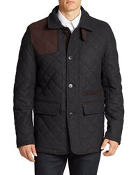 Vince Camuto Leather Trimmed Quilted Jacket Grey