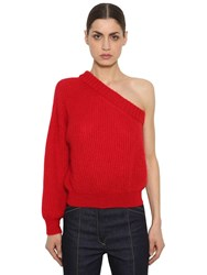 Nina Ricci One Sleeve Mohair Blend Knit Sweater Red