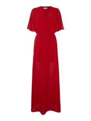 John Zack V Neck Maxi Dress Red